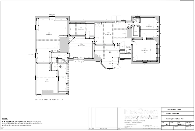 Architectural drawing for planning permission 2d floorplan from measured survey