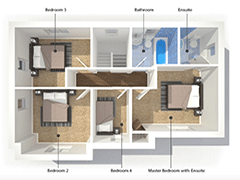 3D Drawing of floorplan and layout for home renovation